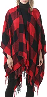 Womens Tassel Plaid Shawls Printed Open Front Blanket Ponchos for Women Large Scarf Soft Blanket Shawls for Women