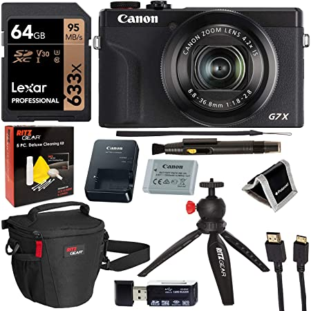 Canon PowerShot G7X Mark III 20.1MP 4K Digital Camera Vlogger Bundle (Black) with 4.2X Optical Zoom Lens 24-100mm f/1.8-2.8 Black 3637C001 with 64GB Memory, Tripod, Camera Bag, HDMI Cable,