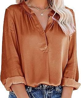 VEMOW Blusas y Camisas de Mujer Manga Larga con Cuello en V, 2021 Moda Ropa de Elegante Camiseta Color Sólido Estilo Infor...