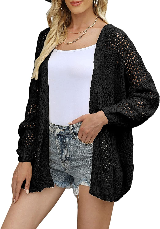 SUPRELOOK Woman's Crochet Hollow Out Long Sleeve Boho Knit Cardigan Open Front Kimono Sweater Coats