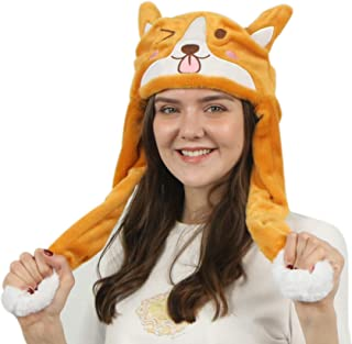 Plush Animal Hat Durable Polyester with Moving Ears Press Paws and Double Air Bag Raises Cute Ears