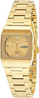 ساعة سيكو 5 اوتوماتيكية للنساء بمينا باللون الذهبي وسوار من الستانلس ستيل - SYM632J1