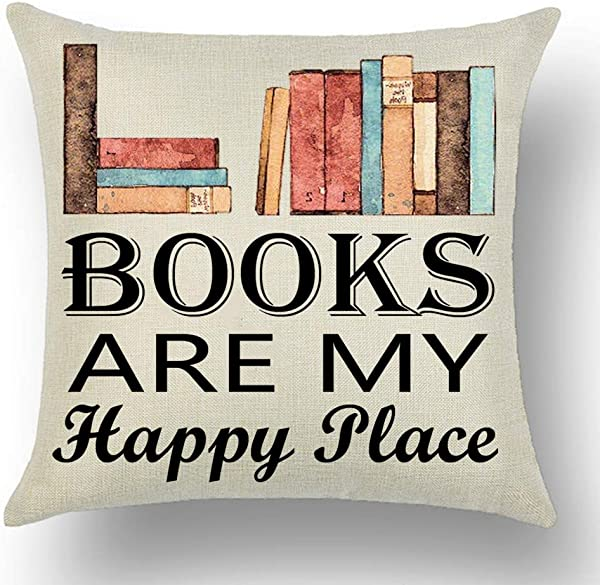 WePurchase Hand Painted Watercolor Books Black Font Word Art Books Are My Happy Place Quote Decoration Cotton Linen Decorative Home Sofa Living Room Throw Pillow Case Cushion Cover Square 18x18 Inches
