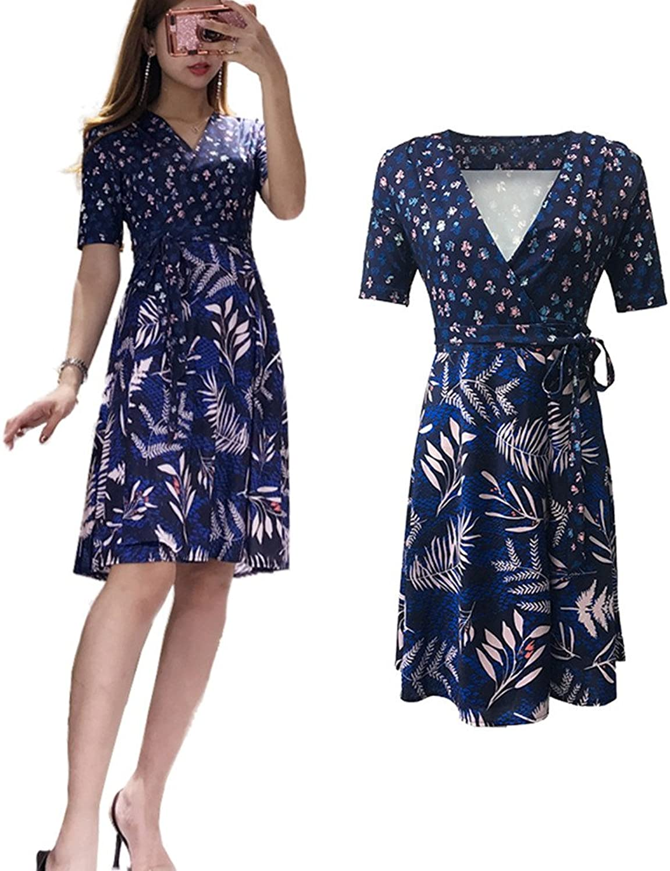 XC DVF Eleghant Womens Summer Half Sleeve Retro Floral Print Dress dvf Wrap Midi Dress with Belt