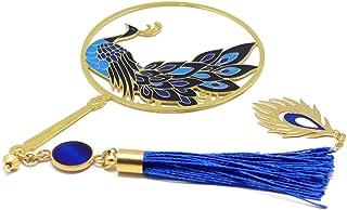 Segnalibro libri pavone pompon piuma di uccello blu bianco ottone resina regali personalizzati regalo di natale anniversar...