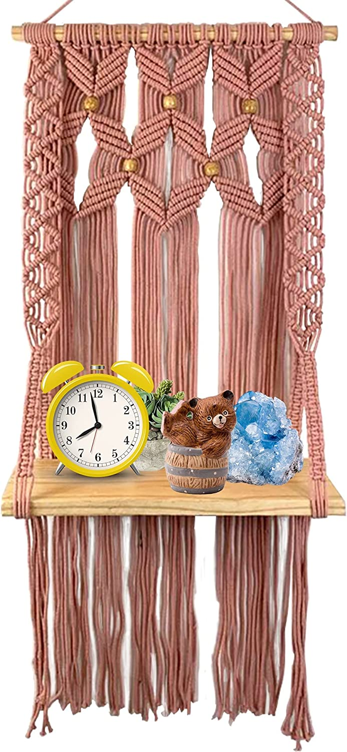 Pink Macrame Wall Hanging Shelf for Plants and Decor Display - Handmade Floating Macrame Shelf for Bedroom, Nursery, Living Room or Bathroom Wall Decor, A Pretty Additional for Any Home.