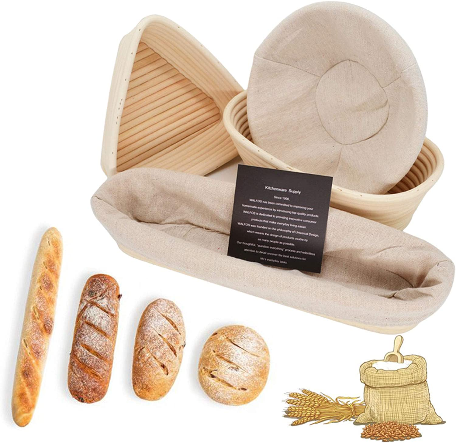 WSJMJ 4PCS Bread Oklahoma City Mall Proofing Baskets A surprise price is realized Rattan Natural Prov Sourdough