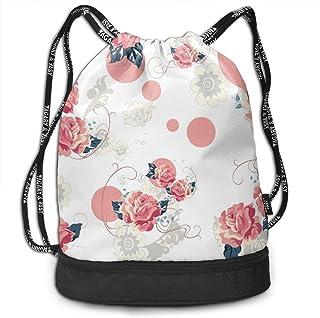 4ac6deb53994 Pink Rose Flower Floral Drawstring Bag Swiming School Cinch Sackpack Large  Capacity Beam Backpack, Home