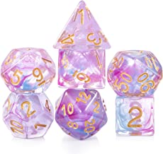 D&D Dice Set,DNDND 7 PCS Polyhedral Dice with Organza Bag for Dungeons and Dragons,DND,Role Playing Games and Table Games Double Colors Purple and Blue Translucent
