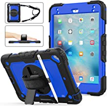 SEYMAC stock iPad Mini 5/4 Case, Shockproof [Full-Body] Rugged Armor Case with 360 Rotating Stand [Pencil Holder] [Screen Protector] Hand Strap for iPad Mini 5th/4th Generation 7.9 inch(Blue+Black)