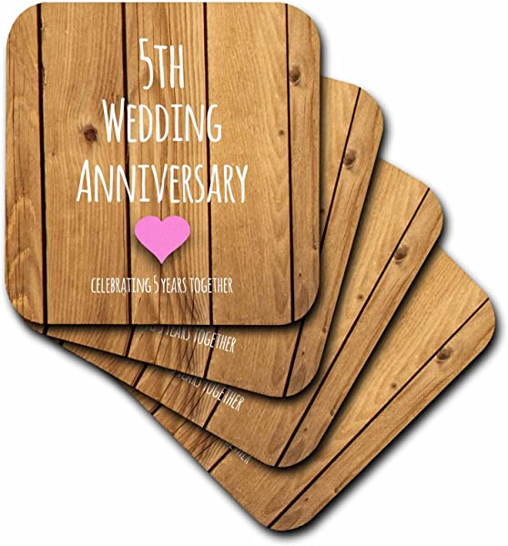 3dRose LLC Cst 154433 1 Soft Coasters 5th Wedding Anniversary Gift Wood Celebrating 5 Years Together Fifth Anniversaries Five Years Set Of 4