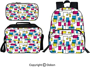 Oobon Kids Toddler School Waterproof 3D Cartoon 16″ Backpack, Artistic Digital Line with Color Featured Geometric Forms Creative Fractal Graphic Decorative, with Lunch bag Pencil bag Three-piece