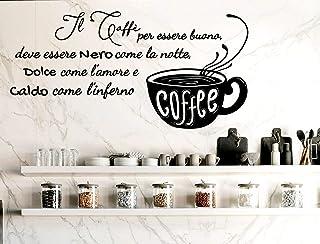 Adesivi Murali frasi Cucina caffe wall stickers caffé nero caldo kitchen decorazione casa da parete cucina adesivo muro cu...