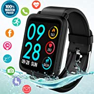 Fitness Tracker Smart Watch, Waterproof Fitness Watches with Blood Pressure Heart Rate Calorie...