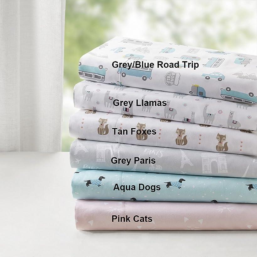 Intelligent Design Novelty Print Ultra Soft Hypoallergenic Wrinkle Free Microfiber Animals Cute Chic Kids Teens Sheet Set Bedding, Queen Size, Aqua Dogs 4 Piece