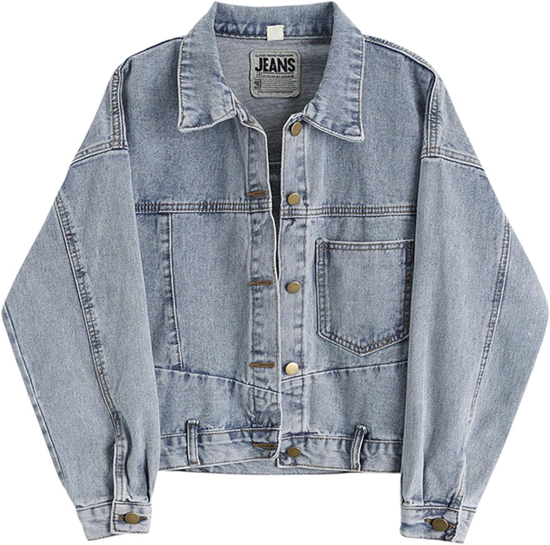 HALITOSS Women Loose Denim Jacket Jean Jackets Washed Loose Long Sleeve Coat