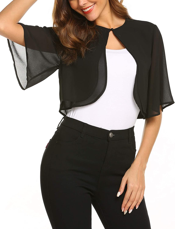 SoTeer Women's Short Sleeve Sheer Shrug Open Front Bolero Cardigan Summer Chiffon Blouse (8 Colors)