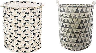 SKYFUN (LABEL) 2 Pack Foldable Round Shape Laundry Makeup Cosmetic Storage Case Bag Basket