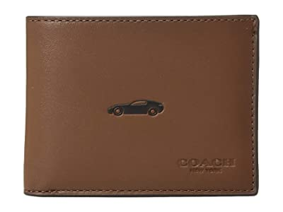COACH Boxed Leather Slim Bill Featuring Motif (Grey) Bill-fold Wallet