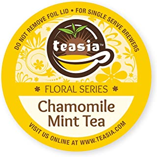 Teasia Tea Pods Chamomile Mint, Caffeine-free (36-count), Floral Series, GMO-free Hot & Iced Tea Single Serve Capsules Compatible with Keurig 2.0 Brewers