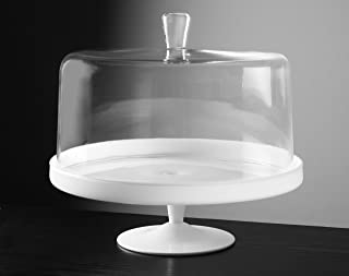 Barski - Euorpean Quality Glass - Large 2 Pc Set - Footed Glass - Opal (white) Cake Stand with Large Clear Cake Dome - 12.4
