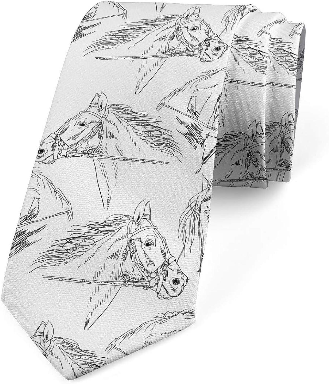 Ambesonne Necktie, Mare Sketch, Dress Tie, 3.7