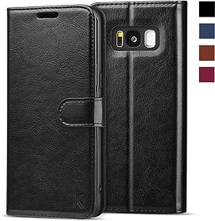 KILINO Galaxy S8 Wallet Case [Shock-Absorbent Bumper] [Card Slots] [Kickstand] [RFID Blocking] Leather Flip Case Compatible with Samsung Galaxy S8 - Black