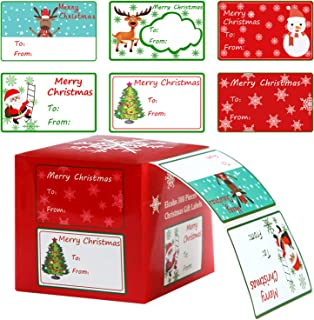 Elcoho 300 Pieces Christmas Self Adhesive Gift Tag Self Stick Stickers Gift Name Tag Christmas Stickers with 6 Different Designs