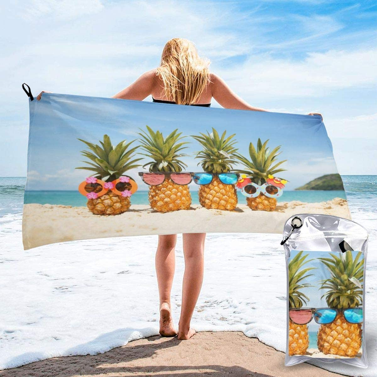 31.5 x 63 with a Carrying Bag Best Beach Towels for Swimmers Sports Travel Super Absorbent Camping Delerain Sea Turtles Microfiber Quick Dry Beach Towel Compact /& Lightweight Towel