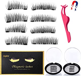 Magnetic Eyelashes 3 Magnets Dual Magnets Lashes Ultra Thin Magnet, Light weight & Easy to Wear,Best 3D Reusable Eyelashes with Applicator,False Lashes with Tweezers(2 Pairs)