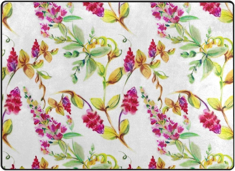 Vantaso Soft Foam Nursery Rugs Exotic Leaves Bright Flowers Non Slip Play Mats for Kids Boys Girls Playing Room Living Room 63x48 inch