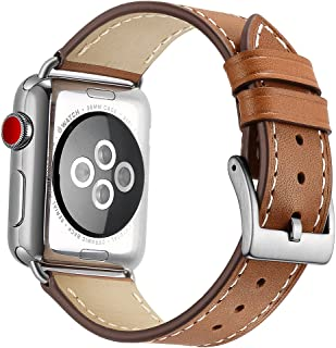 OXWALLEN Compatible for Apple Watch Band 42mm 44mm, Genuine Leather Watch Strap Compatible with Apple Watch Series 4/5 (44mm) Series 3 Series 2 Series 1 (42mm) Sport and Edition, Brown -Silver Buckle