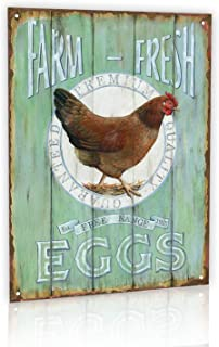 M-Mount Designs Farm Fresh Free Range Eggs Retro Garage Tin Signs Vintage Sign Country Home Bar Wall Decor Art Poster 8x12Inch