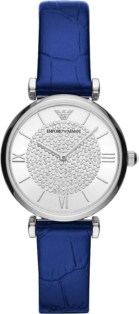 Emporio armani, orologio da donna, cassa in acciaio, quadrante con cristalli, cinturino in pelle AR11344