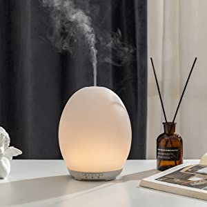 Essential Oil Diffuser, 250 ml Glass Aroma Diffuser, Aromatherapy Diffuser with Timers Mode, Cool Mist Humidifier with Waterless Auto Shut-Off Protection for Home Office Room, Dome Egg Oval Shape