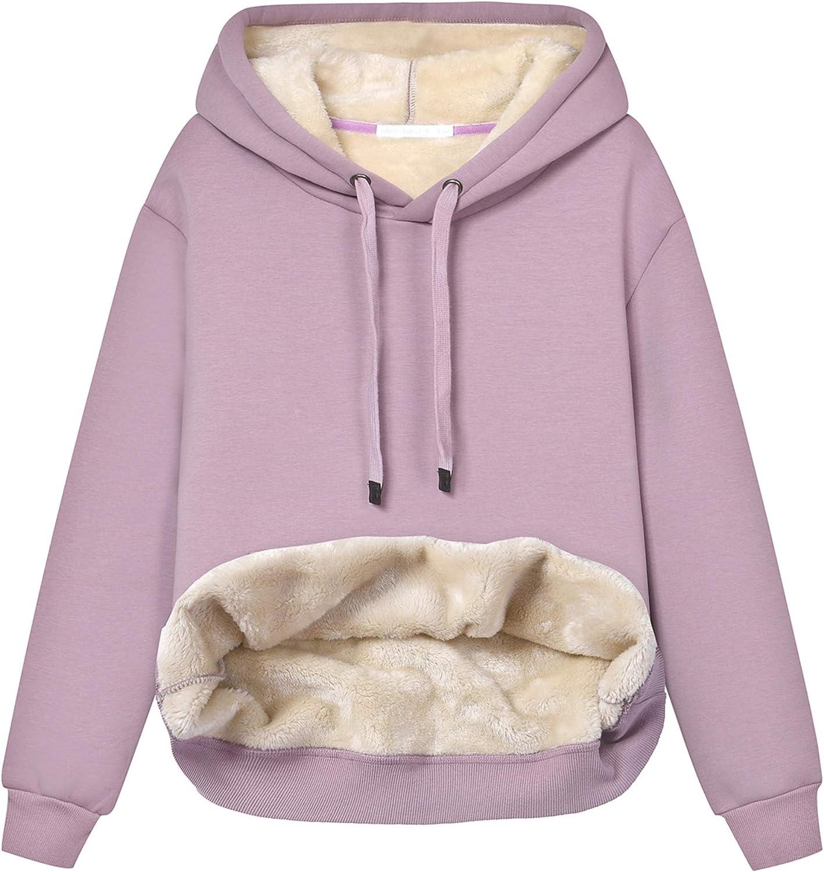 Hixiaohe Max 52% OFF Women's Winter Warm Sherpa Sweatshi Lined Hooded Fleece New Orleans Mall