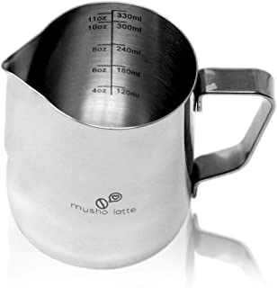 Musho Latte Frothing Pitcher, Steaming Pitcher Stainless Steel, Milk Frothing Cup size 12 oz (350 ml) or 20 oz (600 ml) with 16 Decorating Coffee Art Stencils as Gift of Purchase