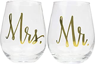 Mr. and Mrs. Stemless Wine Glass, Set of 2-1 Mr and 1 Mrs. 22oz Golf Foil Stemless Wine Glasses, Perfect Engagement Present, Wedding Gift, Anniversary Gift, Bridal Shower Gift