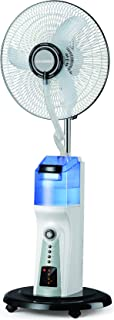 Rechargeable Oscillating Water Mist Fan with Remote Control Over 8m, 16 inches Instant Cooling Fan, 100% Copper Motor, Hea...