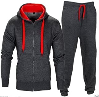 Mens Tracksuits Hooded Zipper Jogging Gym Activewear 2 Piece Set