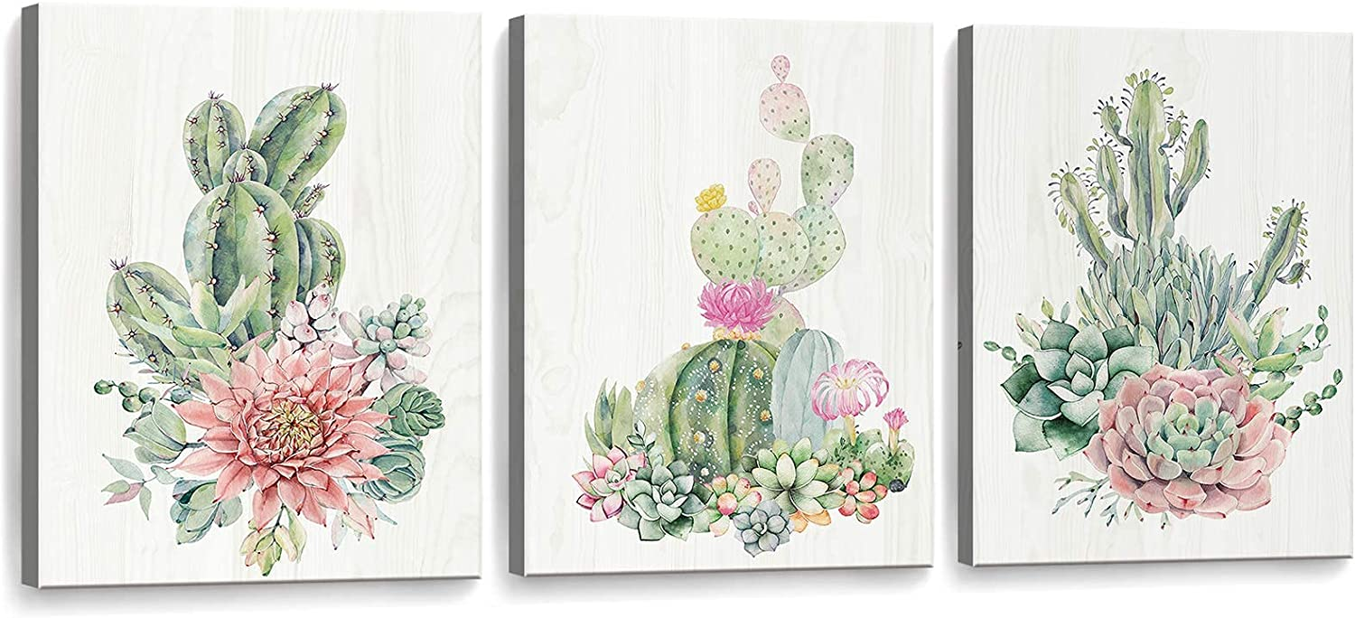 Framed Canvas Wall Art Succulents Cactus Picture Print Paintings Bathroom Wall Decor Living Room Bedroom Kitchen Wall Decorations Artwork Modern Home 3 Piece Plant Wall Decor Size 12x16 inch 3 Panel