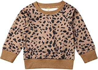 Unisex Baby Leopard Sweatshirt, Toddler Baby Boy Girl Long Sleeve Pullover Casual Top One Piece Outfits