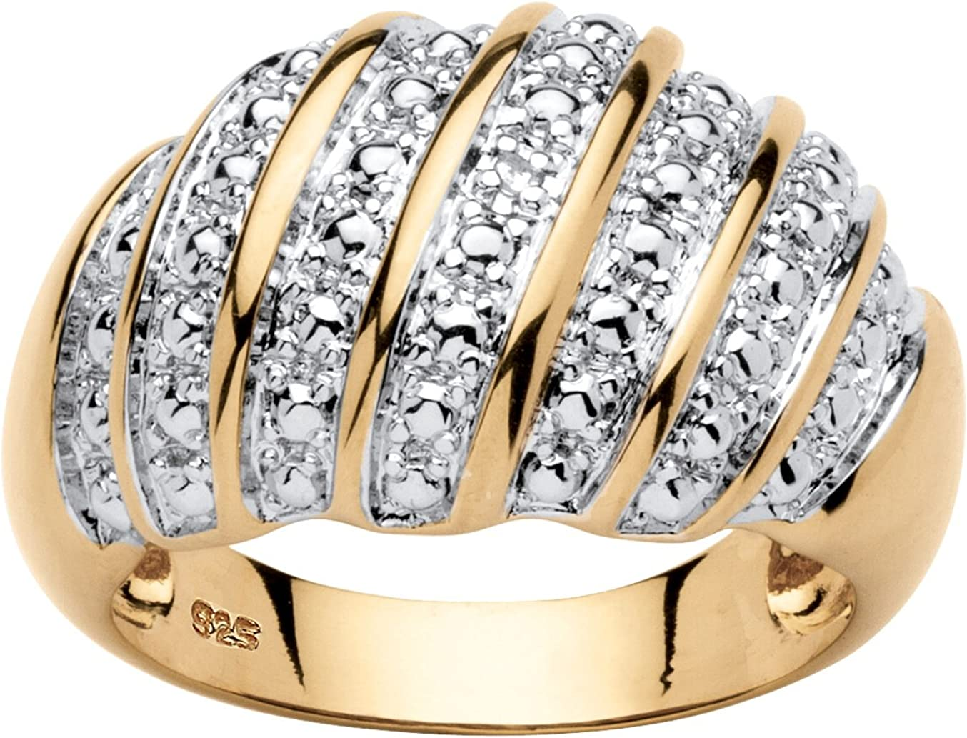 Dealing full price reduction Gold-Plated Sterling Silver Genuine Ring Accent Dome Diamond Dedication