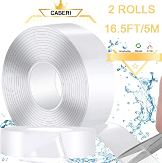 Caberi 16.4ft/2pcsnano magic tape,Easily Removable Wide Double Sided Tape Heavy Duty Reusable,double side tape for Wall, fix Carpet mats etc.( 2mm)