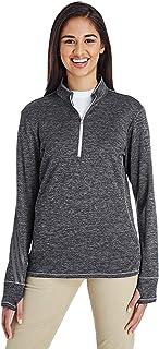 adidas Golf Womens 3-Stripes Heather Quarter-Zip (A285) -Black Heat -XL