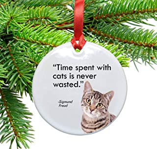 Freud and Cats Quote Ceramic Christmas Ornament. Time Spent with Cats is Never Wasted