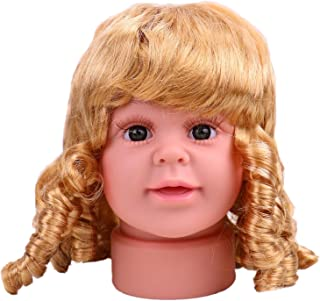 WSSROGY Plastic Children Manikin Head Stand Model Lovely Baby Girl Mannequin with Yellow Hair Wig Kid Childs Sunglasses Hats Cap Display Stand, 7 inch Tall