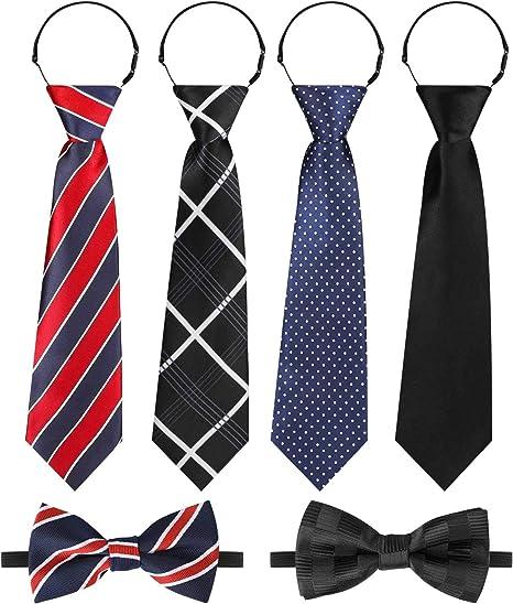 Hifot Corbatas Pajarita niño Set, Ajustable Negro Rojo Azul ...