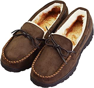 77db19920 VLLY Men s Thick Plush Lining Microsuede Indoor Outdoor Slip On Moccasin  Slippers ...