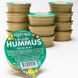 Veggicopia Creamy Original Hummus - classic flavor with a hint of garlic and lemon - All natural, gluten free, dairy-free, vegan - No refrigeration required - 2.5 oz dip cups (Pack of 12)